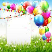 Kleurrijke birthday achtergrond met plaats voor tekst — Stockvector