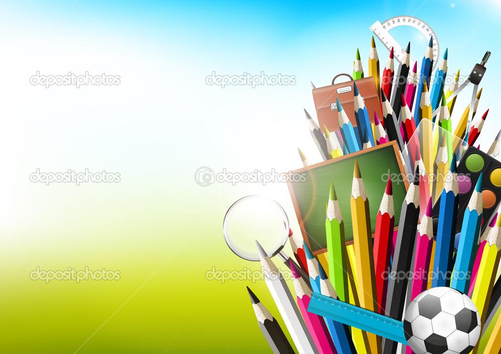 Fondo Utiles Escolares Vector: Lápices De Colores Coloridos Con útiles Escolares