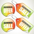 Set of colorful summer sale tags and stickers — Stock Vector