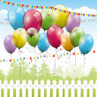 Colorful transparent balloons - birthday background — Stockvektor