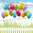 Colorful transparent balloons - birthday background — Stock vektor