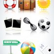 Set of glossy summer icons — Stockvektor