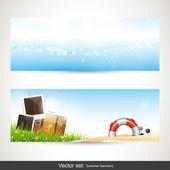 Summer vacation horizontal banners - vector set — Stock Vector