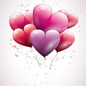 Transparent heart shaped birthday balloons — 图库矢量图片