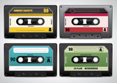 Collection of retro cassette tapes — Stock Vector