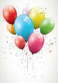 Glossy birthday balloons — Stock Vector