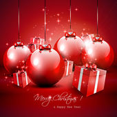 Elegant red Christmas background with baubles and gifts — Stock Vector