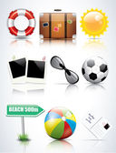 Set of glossy summer icons — Stock Vector