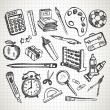 Vector de stock : Set of hand drawn school supplies