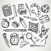 Set of hand drawn school supplies — Cтоковый вектор