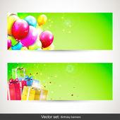 Cumpleaños pendones - conjunto de vectores — Vector de stock