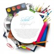 Stockvector : School supplies on white background