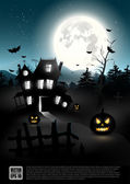Halloween night - vector poster — Stock Vector