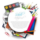 School supplies on white background — Stok Vektör