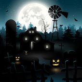 Haunted farmhouse — Stock Vector