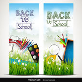 Back to school - vector banners — Vector de stock
