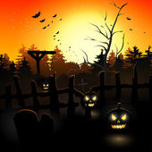 Scary graveyard — Stock Vector