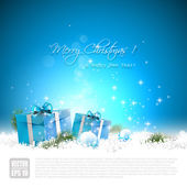 Blue Christmas greeting card — Stock Vector