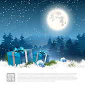 Christmas night - greeting card — Cтоковый вектор