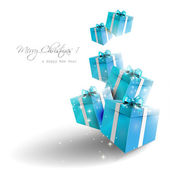 Blue guft boxes — Stockvector