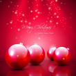 Red Christmas background with baubles — Stock Vector