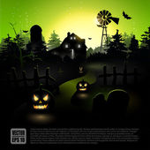 Green Halloween poster — Stock Vector