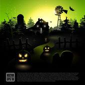 Green Halloween poster — Stock Vector