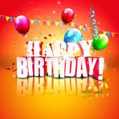 Fondo realista cumpleaños colorido — Vector de stock