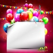 Colorful birthday background with empty paper — 图库矢量图片