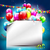 Colorful birthday background with empty paper — Stok Vektör