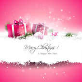 Pink Christmas greeting card — Cтоковый вектор