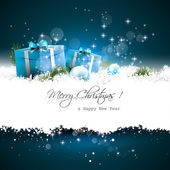 Blue Christmas greeting card — Vector de stock