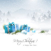 Christmas winter landscape — Vector de stock
