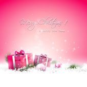 Pink Christmas greeting card — Stock Vector