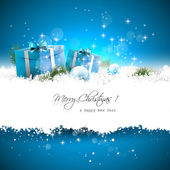 Blaue weihnachten grußkarte — Stockvektor