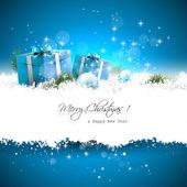 Blue christmas wenskaart — Stockvector