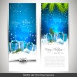 Stock Vector: Set of two blue Christmas banners