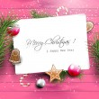 Pink Christmas greeting card with copyspace — Stock Vector