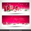 Stock Vector: Set of two red Christmas banners