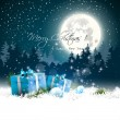 Stock Vector: Christmas night - greeting card