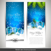 Set of two blue Christmas banners — Stok Vektör