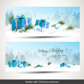 Set of two Christmas banners — Vector de stock