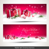 Set of two red Christmas banners — Vecteur