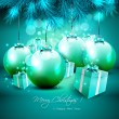 Stock Vector: Green Christmas background