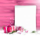 Pink Christmas background — Stok Vektör