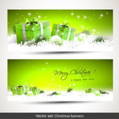 Set of two green Christmas banners — Vecteur