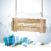 Christmas winter landscape with wooden sign — Vecteur