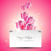 Modern pink Christmas greeting card — Stock Vector