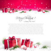 Red Christmas greeting card — Stockvector