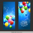 Birthday balloons banners — Vector de stock